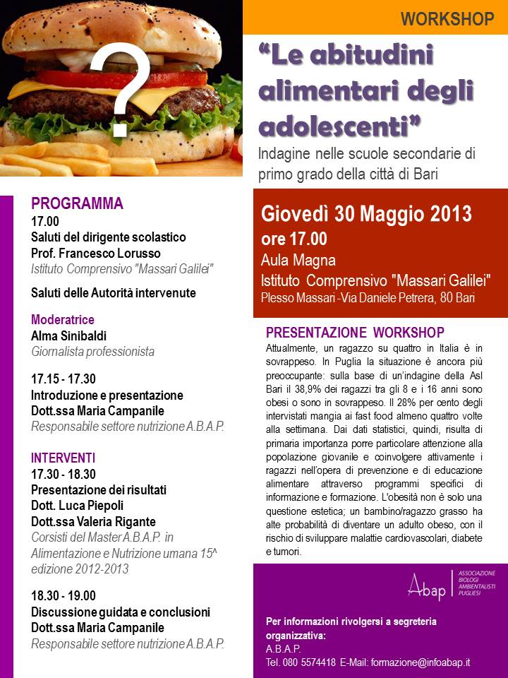 Workshop Abitudini alimentari adolescenti